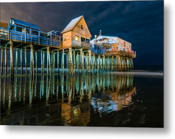Old Orchard Dock Night Reflection Metal Print