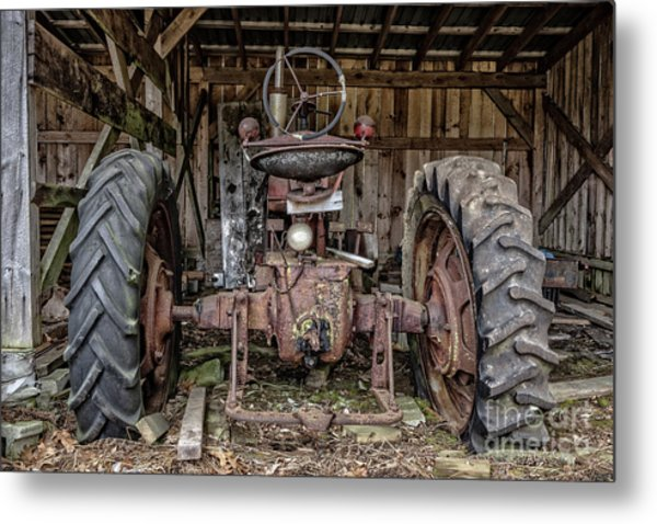 Old Tractor In The Barn Metal Print