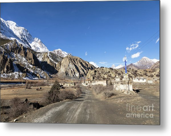 On The Annapurna Circuit Trekking Near Manang In Nepal Metal Print