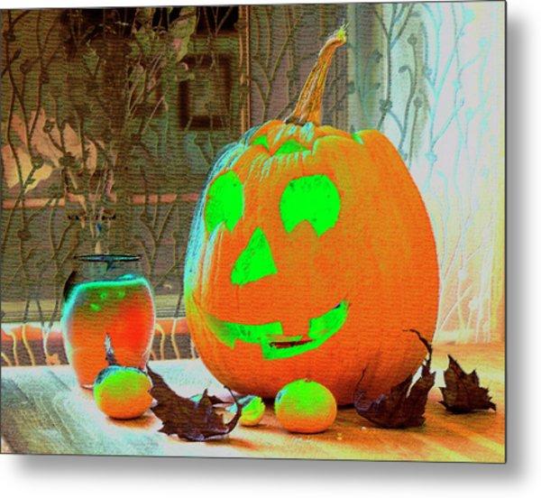 Orange Halloween Decoration Metal Print