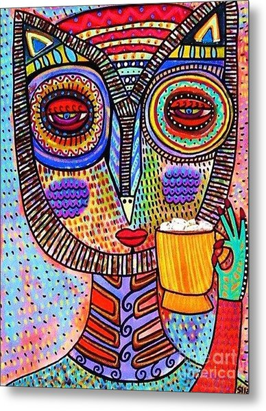 Owl Goddess Drinking Hot Chocolate Metal Print