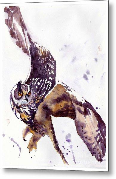 Owl Watercolor Metal Print