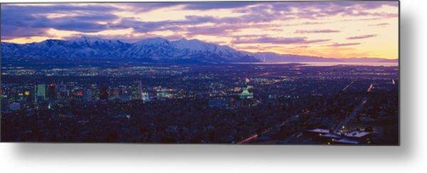 Panoramic Sunset Of Salt Lake City Metal Print
