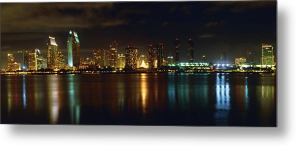 Panoramic View Of San Diego At Night Metal Print by George Oze