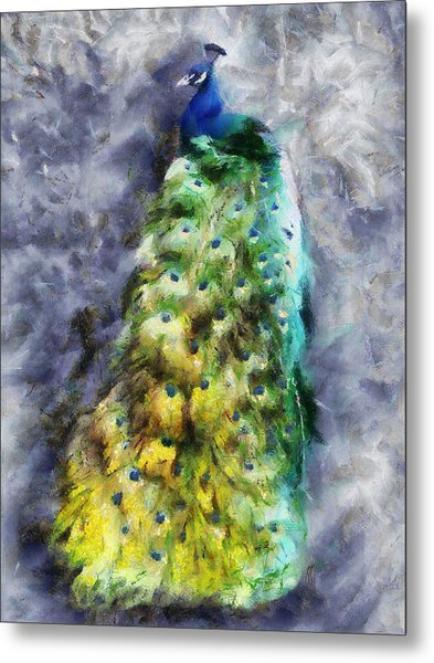 Peacock Portrait Metal Print