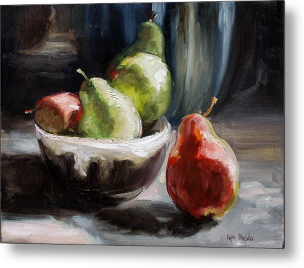 Pears In Grandma's Bowl Metal Print by Kathy Busillo