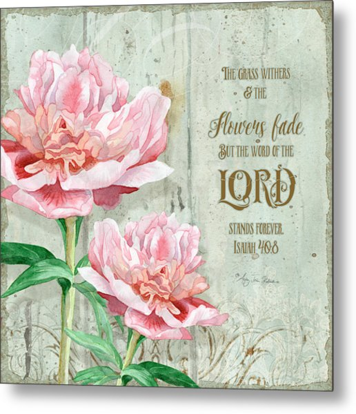 Peony At The Fence Metal Print