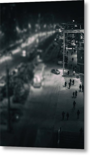 People At Night From Arerial View Metal Print