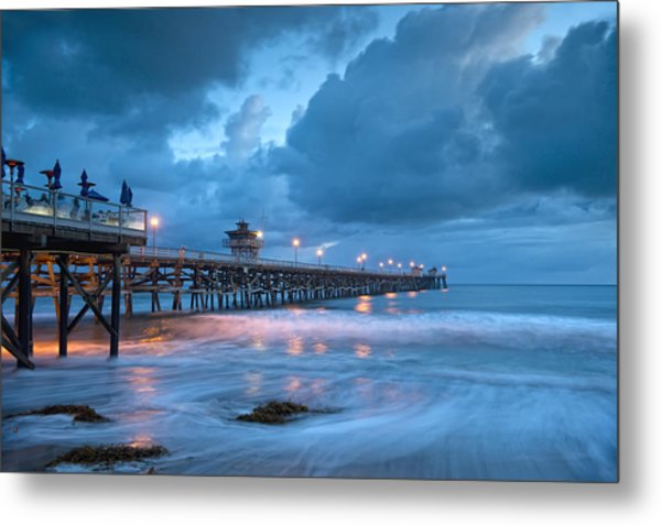 Pier In Blue Metal Print by Gary Zuercher