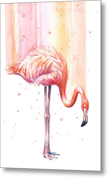 Pink Flamingo - Facing Right Metal Print