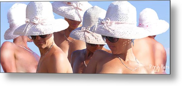 Pink Hats Metal Print by Leo Malboeuf