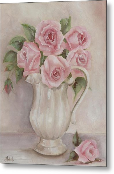 Pitcher Of Roses Metal Print