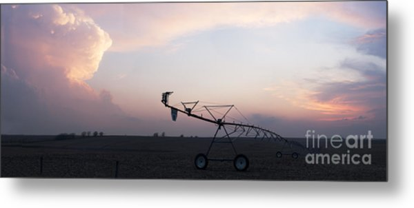 Pivot Irrigation And Sunset Metal Print