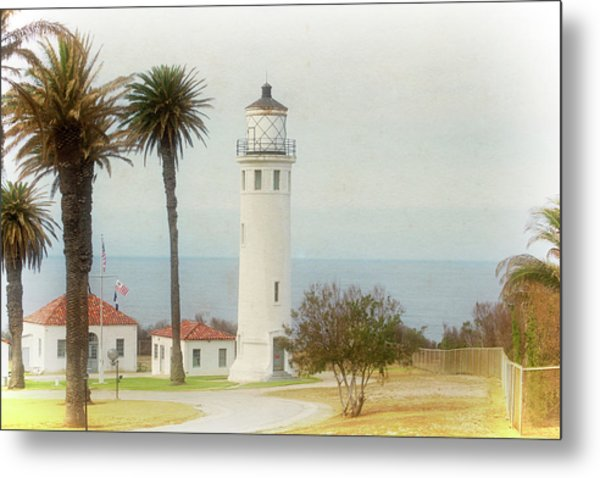 Point Vincente Lighthouse, California In Retro Style Metal Print