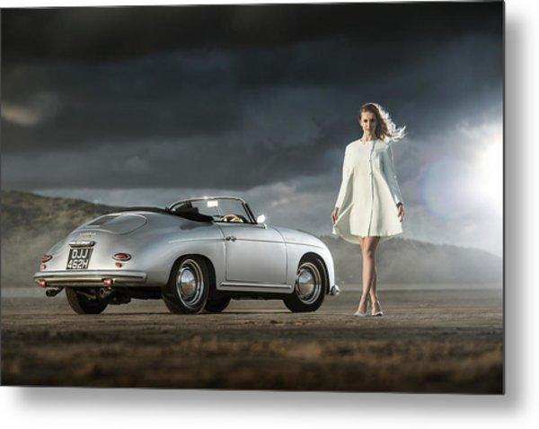 Porsche 356 Speedster With Model Metal Print