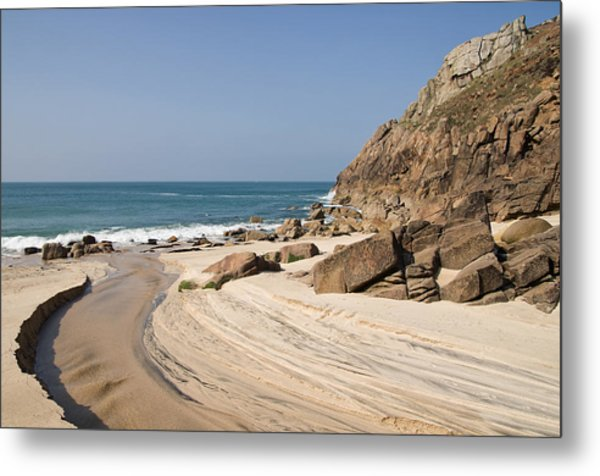Portheras Beach In Nw Cornwall Metal Print