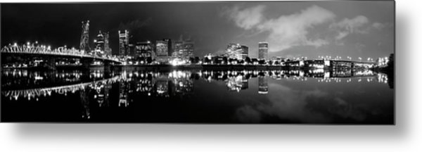 Portland Skyline Black And White Metal Print