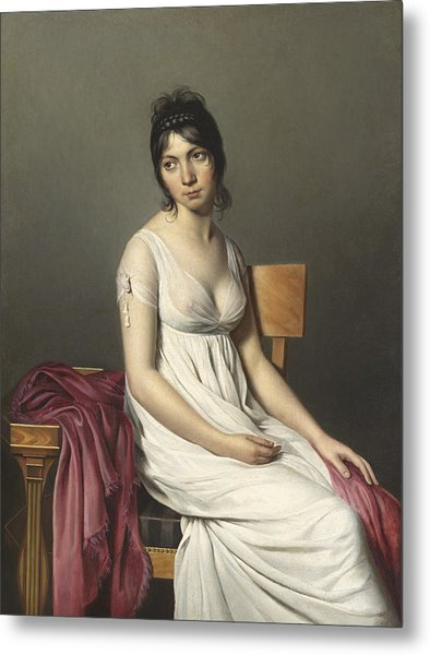 Portrait Of A Young Woman In White Metal Print