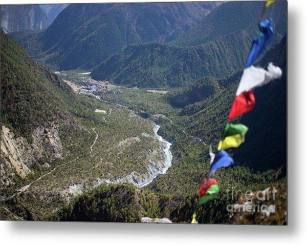 Metal Print featuring the photograph Prayer Flags In The Himalaya Mountains, Annapurna Region, Nepal by Raimond Klavins