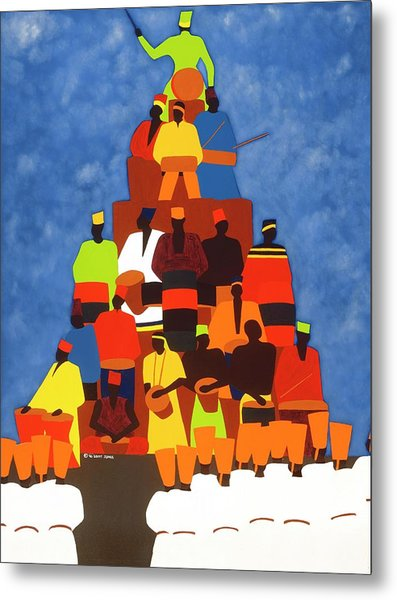 Pyramid Of African Drummers Metal Print