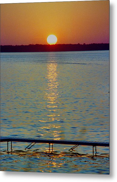 Quite Pier Sunset Metal Print