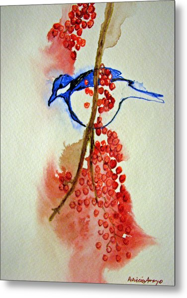Red Berry Blue Bird Metal Print by Patricia Arroyo