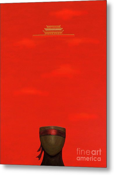 Red Impression Metal Print