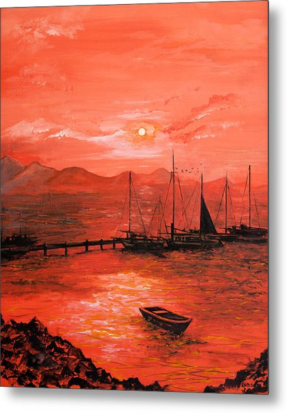 Red Sea Sunset Metal Print by Jane Woodward
