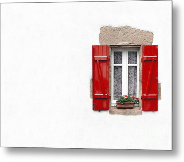 Red Shuttered Window On White Metal Print