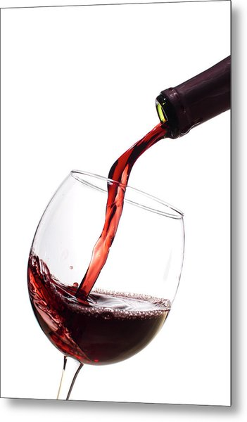 Red Wine Poured Into Wineglass Metal Print