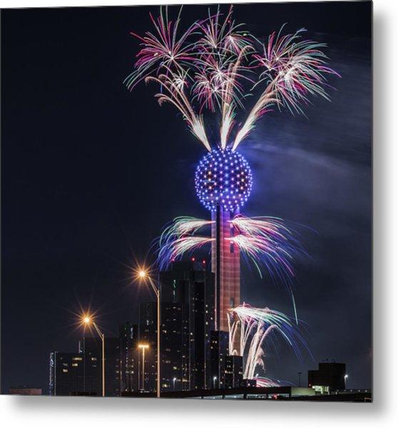 Reunion Tower Fireworks Metal Print