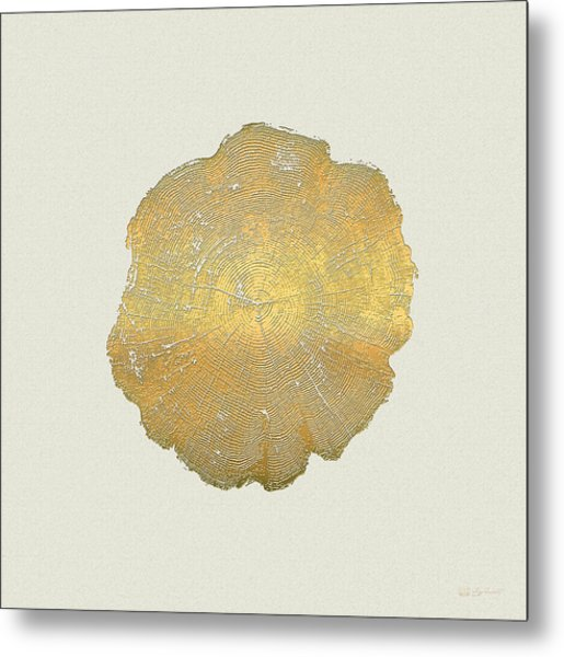 Rings Of A Tree Trunk Cross-section In Gold On Linen  Metal Print