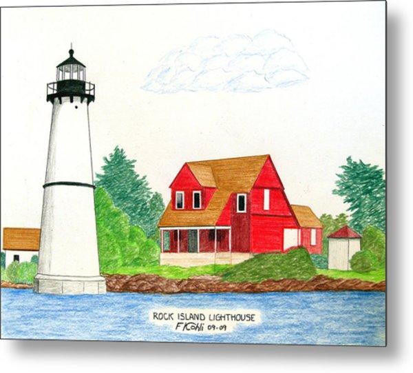 Rock Island Lighthouse Metal Print by Frederic Kohli