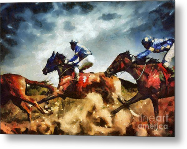 Metal Print featuring the painting Running Horses Competition Jockeys In Horse Race by Dimitar Hristov