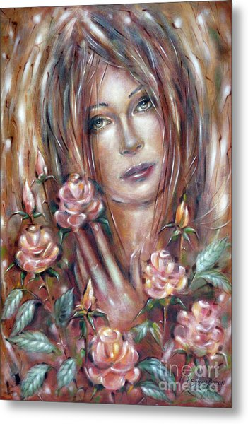 Sad Venus In A Rose Garden 060609 Metal Print