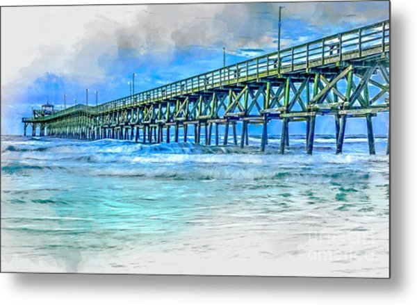 Sea Blue - Cherry Grove Pier Metal Print