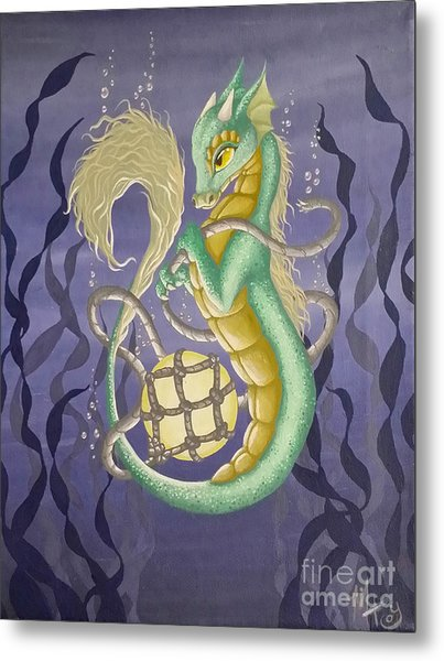 Metal Print featuring the painting Sea Dragon II by Mary Hoy