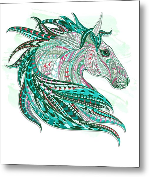 Sea Green Ethnic Horse Metal Print