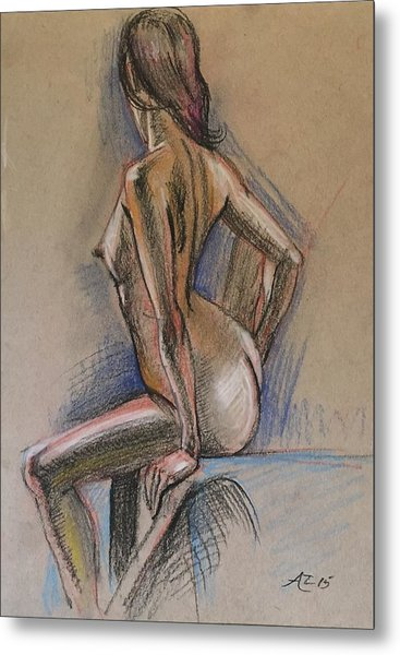 Seated Nude Metal Print by Alejandro Lopez-Tasso
