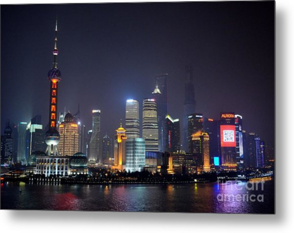 Shanghai China Skyline At Night From Bund Metal Print