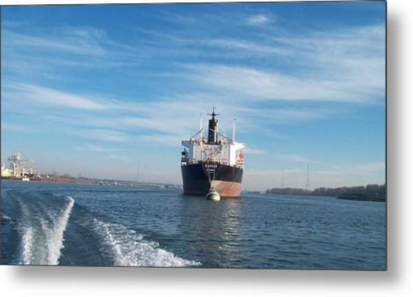 Ship At Anchor In The Columbia River Metal Print by Alan Espasandin