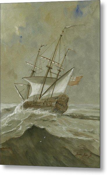 Ship At The Storm Metal Print
