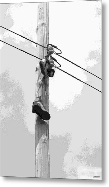 Metal Print featuring the digital art Shoefiti 2160bw by Brian Gryphon