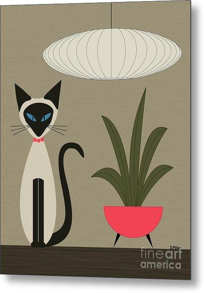 Siamese Cat On Tabletop Metal Print