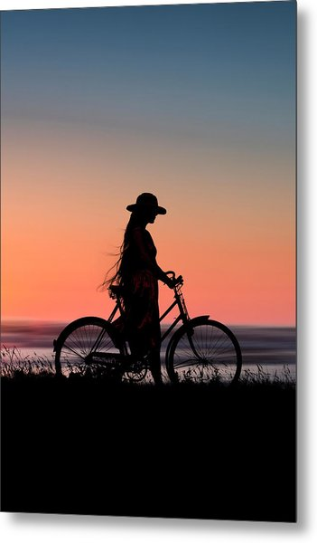 Silhouette Of Girl And Bike At Sunset Near The Sea. Metal Print