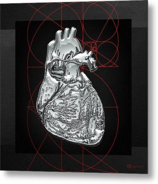 Silver Human Heart On Black Canvas Metal Print