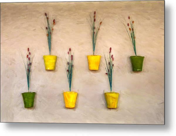 Six Flower Pots On The Wall Metal Print