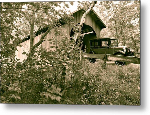 Slaughter House Covered Bridge In Northfield Vermont Metal Print