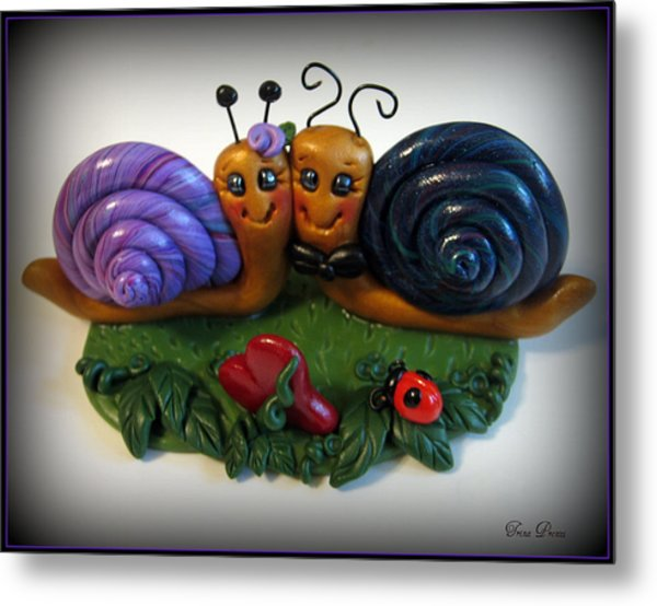 Snails In Love Metal Print by Trina Prenzi