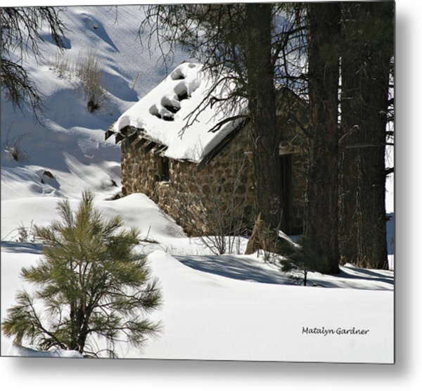 Metal Print featuring the photograph Snow Cabin by Matalyn Gardner